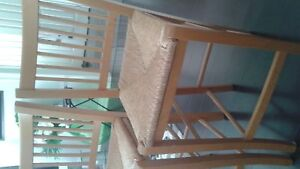 Bar stools with woven wicker seats excellent condition