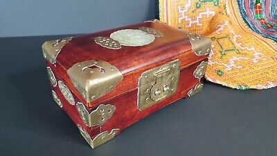 Old Chinese Wood Jewelry Box with Stone Inlay & Brass Corners and fittings…