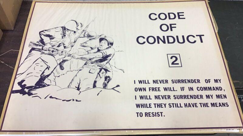 """Vietnam Era Military Training Poster """"Code Of Conduct 2"""""""