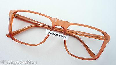Vintage Brille Gestell groß eckig Nerd Kunststoff Rahmen unisex rotbraun Gr. L