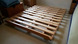 Queed bed frame, wooden suitable for spring or futon