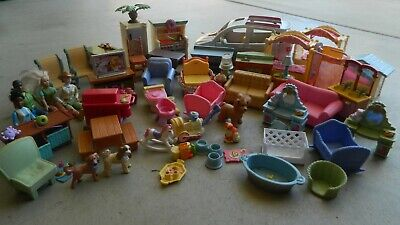 HUGE Fisher Price Loving Family Lot! Van, Stove, Sounds, Furniture, People, etc!