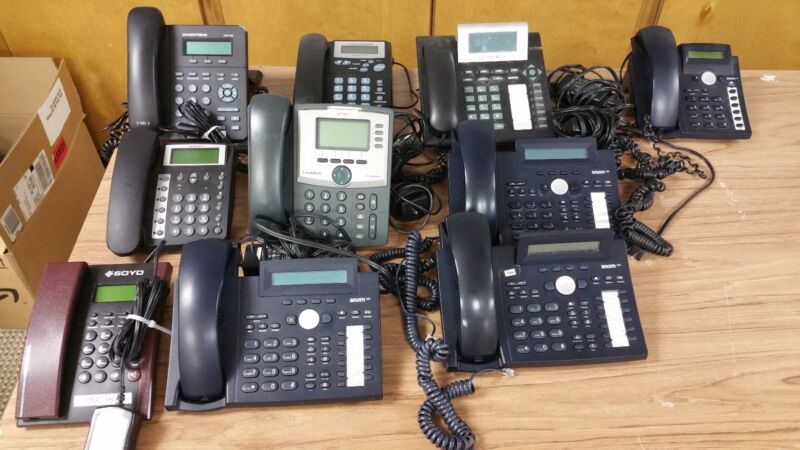 Lot of 10 Various VOIP Phones