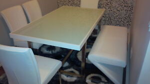 Ashley White Dining Table White Leather Chairs & Bench
