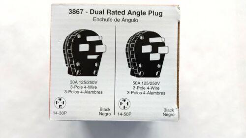 Legrand 3867 Dual Rated Angle Plug 30A/50-Amp 125/250V 3-Pole 4-Wire