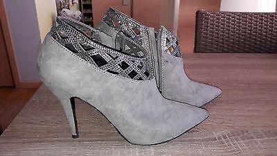 Superbes chaussures gris perle talons hauts et strass - 39 - NEUVES