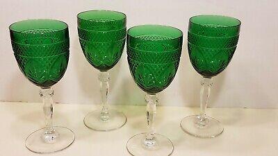 Set of 4 Emerald Green Cristal D'Arques Durand Antique Crystal Water Goblets Antique Water Goblets
