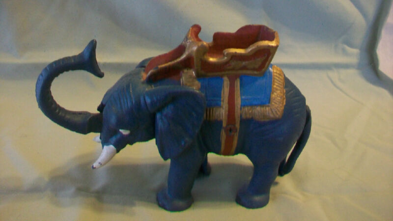 VINTAGE BLUE GREY ELEPHANT WITH HOWDAH SADDLE MECHANICAL BANK