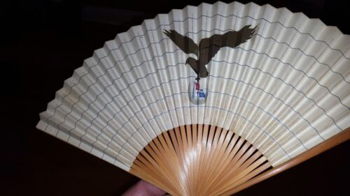 "VINTAGE SET OF 2 CHINESE FANS IN ORIGINAL CASE EAGLE DEPICTION ""KKTC"" MAKER MARK"