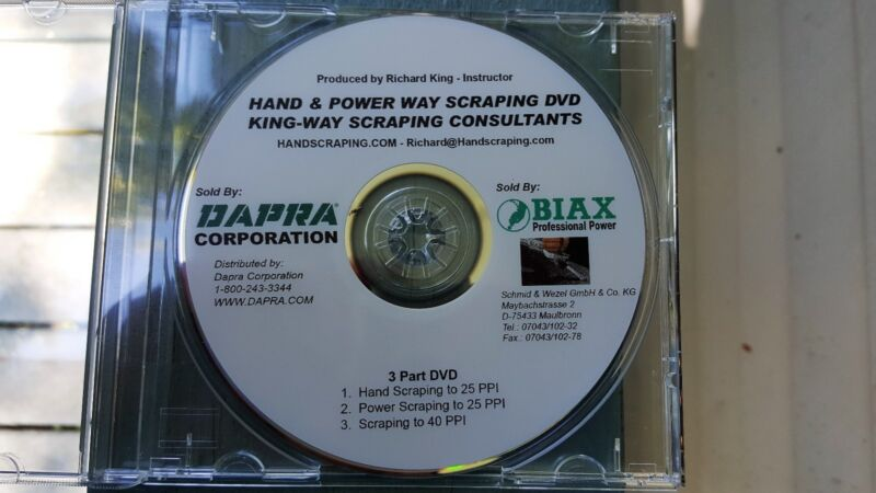LEARN TO HANDSCRAPE & BIAX POWER SCRAPE DVD FOR  MACHINERY WAYS