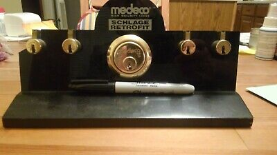Rare Medeco Dealer Display Stand With 5 Working 6 Pin Biaxial Locks Locksport