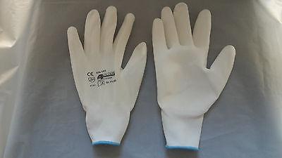 Beschichtete Arbeits-handschuhe (12 Paar Maler Handschuhe weiß mit Feingriff Nylon-Gewebe/PU-beschichtet Größe 10)