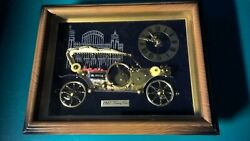 Wall Clock Made of Watch Parts 1910 Touring Car Linden Framed Picture 10x8