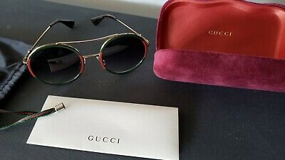 GUCCI UNISEX SUNGLASSES GG0061S ROUND FRAME AVIATOR WEB GREEN & RED BEE