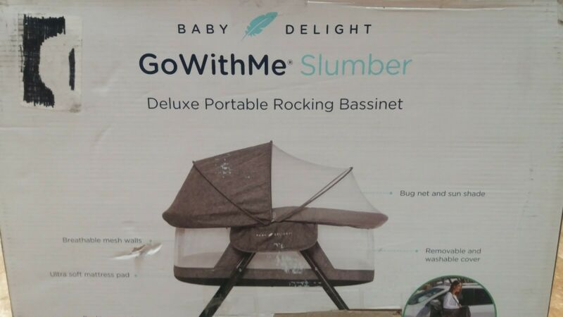 Baby Delight Go with Me Slumber Deluxe Portable Rocking Bassinet, Charcoal Tweed