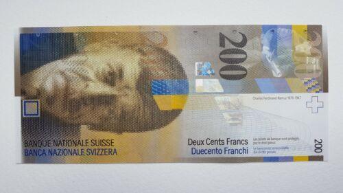 Switzerland 200 Franken 2013 UNC Pick # 73 Serial # 13N5981469
