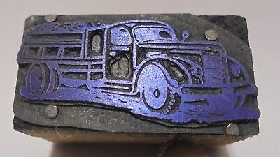 Vintage Letterpress Printing Block Cut Vintage Work Truck Full Load