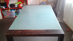 Wooden/frosted glass top dining table