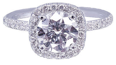 GIA H-SI1 18K White Gold Round Cut Diamond Engagement Ring Halo Prong 2.15ctw 8