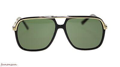 750bb61011 NEW Gucci Men Sunglasses GG0200S 001 Black Gold Green Lens 57mm Authentic  d occasion Expédié
