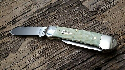Case XX 62131 Canoe Knife Mint Green Jigged Bone Handles 55402