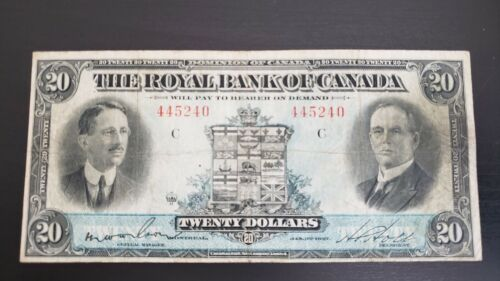 Royal Bank of Canada 1927 $20 Cat:630-14-12 in Fine+