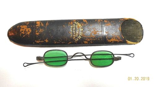 ANTIQUE EYEGLASSES WITH LEATHER CASE ESTIMATED CIRCA PRE-CIVIL WAR USA