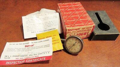 Vintage Starrett Dial Test Indicator 196b1 Edp 50699 Pre Owned In Box W Cert