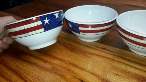 Lot Of 4 Colonial Cereal Bowl 5 1/2 Sakura Warren Kimble Red White Blue 1646 - $42.99