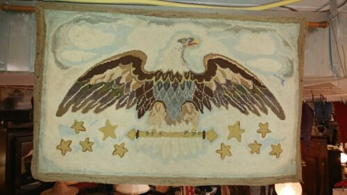 Vintage Hook Rug tapestry - American Eagle - Hand Made