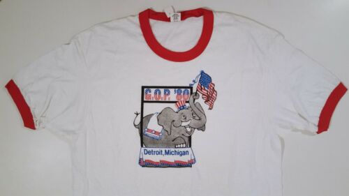 1980 DETROIT GOP CONVENTION RNC T-SHIRT VINTAGE REAGAN REPUBLICAN Sz L NEW NWT