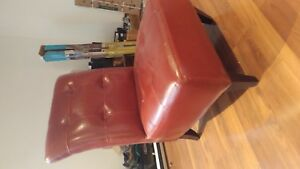 (2) modern living room chairs - red leather