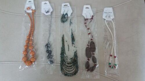 Empowering Jewelry Lot 5 Sets Necklace + Earrings Boho Bead Orange Black Indie