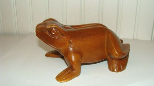 Vintage Wood Hand Carved FROG Figurine