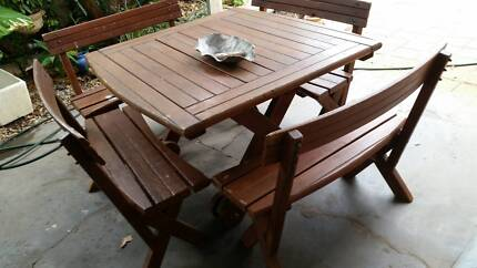 Wooden Outdoor setting  compact  6 seater.