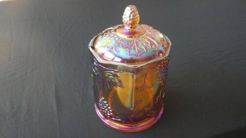 Vintage Indiana Carnival Glass Harvest Grape Iridescent Amber Lidded Canister