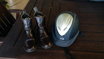 Horse Riding boots and helmet