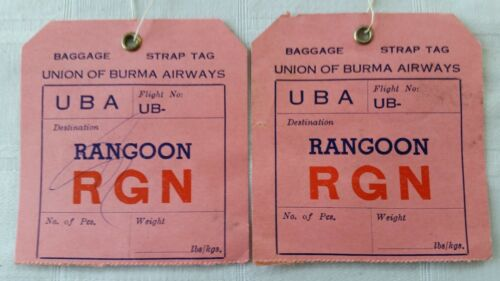 2 Vintage Union of Burma Airways Airlines Baggage StrapTags Rangoon