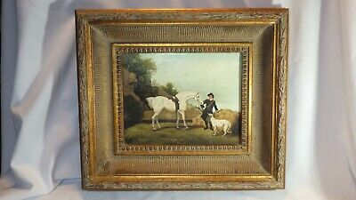 SIGNED Reed Vintage Horse & Greyhound Dog Oil Painting On Canvas in Gold Frame