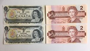 2 Sets -1973 & 1986 Canadian Scene and Bird Series Banknotes