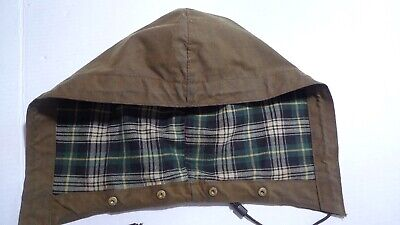 BARBOUR- VINTAGE-HEAVYWEIGHT WAXED COTTON HOOD -OLIVE- FOR SOLWAY- RARE-ONE SIZE