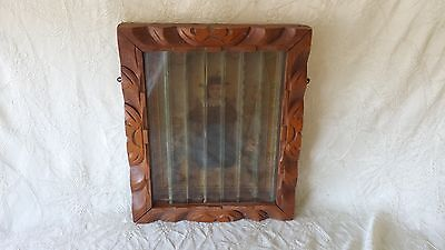 Antique Mexican Child of Atocha Print Carved Wood Frame w 2 Divided Angle Prints