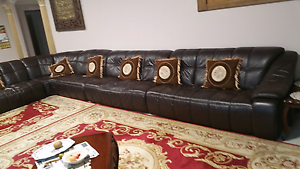 Dark brown leather lounge sofa 15 seater East Cannington Canning Area Preview