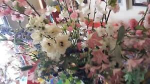 LARGE DISPLAY SILK FLOWERS AND TRIANGULAR VASE