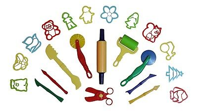 Dough Tools Play Set Modelling Doh Clay Craft Rolling Pins Cookie Cutters 22 pcs