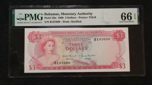 1968 BAHAMAS MONETARY AUTHORITY Three Dollar Note PMG GEM 66 EPQ $3 Bill BUY IT!