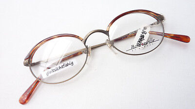 Oldschool Fassung Brille Metall Hornoptik braun Antiklook Gestell oval Grösse  S