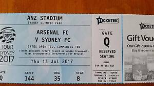 1 x Junior Arsenal vs Sydney FC ticket Flagstaff Hill Morphett Vale Area Preview
