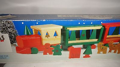 Train set hand painted 22 piece wooden Christmas decor display IOB 1980's vtg