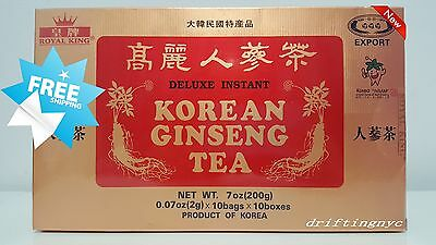 Royal King Deluxe Instant Korean Ginseng Tea (100 Bags) USA Seller Free Shipping
